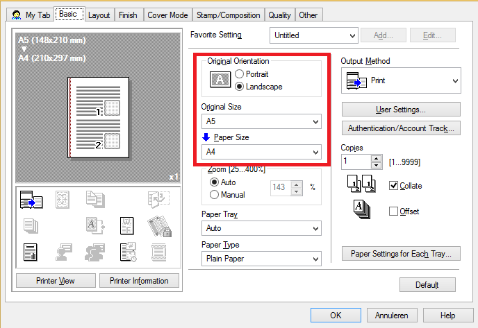 Print the Settings Page